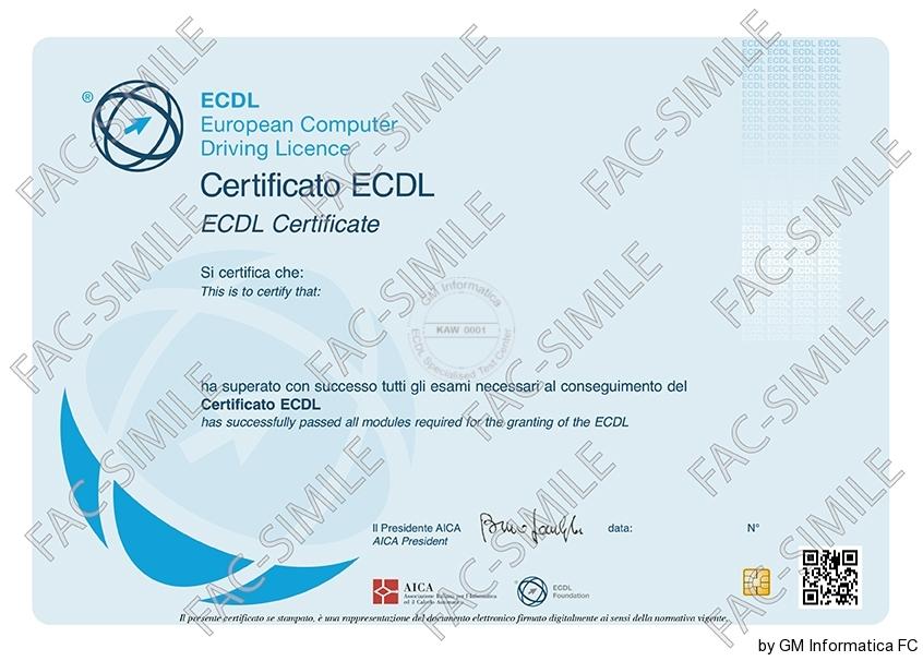 Certificato ECDL CORE